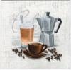 แนวภาพอาหาร เอาใจคนรักกาแฟ กับถ้วย กาชงกาแฟ เม็ดกาแฟ เป็นภาพโทนสีขาว เป็นภาพ 4 บล๊อค กระดาษแนพกิ้นสำหรับทำงาน เดคูพาจ Decoupage Paper Napkins ขนาด 33X33cm