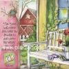 กระดาษอาร์ตพิมพ์ลาย สำหรับทำงาน เดคูพาจ Decoupage แนวภาำพ in the room เก้าอี้ไม้แบบยาว ตั้งอยู่หน้าบ้าน สำหรับตกแต่ง ชมสวนสวย ภาพสีหวานหวาน (ปลาดาวดีไซน์)