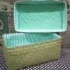 """ชิ้นงานดิบ กระจูด ทำ Decoupage งานเพนท์ กล่องเก็บของมีฝาปิด ด้านในบุผ้าวินเทจสุดสวยโทนเขียว 7""""x 12""""x 6"""""""