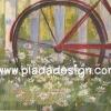 กระดาษสาพิมพ์ลาย สำหรับทำงาน เดคูพาจ Decoupage แนวภาำพ บ้านและสวน ภาพดอกไม้หลากสีสัน ล้อจักรยาน สีหวานมาก เป็นภาพแนวภาพวาดสีฟุ้งๆ (ปลาดาวดีไซน์)
