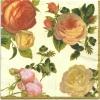 แนวภาพดอกไม้ กุหลาบสวยหรู บนพื้นครีม กระดาษแนพกิ้นสำหรับทำงาน เดคูพาจ Decoupage Paper Napkins ภาพกระจายเต็มแผ่น ขนาด 25X25 ซม