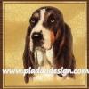 กระดาษสาพิมพ์ลาย สำหรับทำงาน เดคูพาจ Decoupage แนวภาพ สุนัข น้องหมาพันธ์หูยาว สีโทนน้ำตาลดำขาว บนพื้นครีม