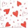 แนวภาพความรัก หัวใจสีแดง สีขาว ภาพโทนสีขาว เป็นภาพ 4 บล๊อค กระดาษแนพกิ้นสำหรับทำงาน เดคูพาจ Decoupage Paper Napkins ขนาด 33X33cm