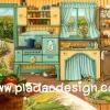 กระดาษสาพิมพ์ลาย สำหรับทำงาน เดคูพาจ Decoupage แนวภาำพ ห้องครัวแบบวินเทจ vintage ของบ้านริมเขาในยุโรป สวยมากๆ (ปลาดาวดีไซน์)