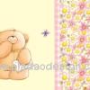 กระดาษสาพิมพ์ลาย สำหรับทำงาน เดคูพาจ Decoupage แนวภาำพ ภาพวาด ภาพแนวการ์ตูน น้องหมี ฮอลล์มาร์ค Hallmarks bear น้องหมียืนฝันหวานถือจดหมายรัก มองม่านดอกไม้สีชมพู (ปลาดาวดีไซน์)