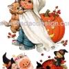 กระดาษเดคูพาจพิมพ์ลาย สำหรับทำงาน เดคูพาจ Decoupage งานฝีมือ งาน Handmade แนวภาพ ภาพวาด เด็กๆเล่นสนุกสนานในงาน Halloween ในชุดแฟนซีผี และพ่อมดแม่มดน้อย สไตล์ วินเทจ vintage ปลาดาว ดีไซน์