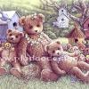 กระดาษสาพิมพ์ลาย rice paper เป็น กระดาษสา สำหรับทำงาน เดคูพาจ Decoupage แนวภาพ น้องหมี เท็ดดี้ แบร์ teddy bear และเพื่อนๆ มาให้อาหารนกและนอนพักหน้าบ้านนก (pladao design)