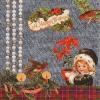 แนวภาพลายเทศกาล คริสมาสต์ ภาพเด็กน้อยกับลายตกแต่ง เป็นภาพ 4 บล๊อค กระดาษแนพกิ้นสำหรับทำงาน เดคูพาจ Decoupage Paper Napkins ขนาด 33X33cm