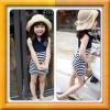 Huanzhu kids ชุดเดรส เด็กสีน้ำเงิน กระโปรงลายริ้วสีขาว-น้ำเงิน สไตล์เด็กเกาหลี น่ารัก