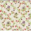 แนวภาพดอกไม้ ดอกไม้ช่อเล็กๆ กระจายบนพื้นผ้าลินินสีเทา เป็นกระดาษลายกระจายเต็มแผ่น กระดาษแนพคินสำหรับทำงาน เดคูพาจ Decoupage Paper Napkins เป็นภาพ 4 บล๊อค ขนาด 25X25 ซม
