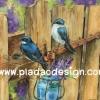 กระดาษสาพิมพ์ลาย สำหรับทำงาน เดคูพาจ Decoupage แนวภาำพ นกน้อยสีน้ำเงิน 2 ตัว มาสร้างรังกันบนรั้วไม้ สีคลาสสิคสวยหวาน (ปลาดาวดีไซน์)