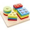 ของเล่นเสริมพัฒนาการบล็อกไม้สวมหลัก 4 รูปทรง