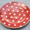 จานข้าวใหญ่ลายจุด สีแดง Vintage Polka Dot Whittard of Chealsea