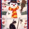 กระดาษสาพิมพ์ลาย สำหรับทำงาน เดคูพาจ Decoupage แนวภาพ แมวดำ2ตัว เล่นหิมะกะพี่สโนว์แมนตัวเบิ้ม