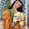 กระดาษสาพิมพ์ลาย สำหรับทำงาน เดคูพาจ Decoupage แนวภาำพ น้องแมวขา รับกาแฟซักถ้วยมั๊ยค๊า เป็นภาพแนวอาร์ตอาร์ต สวยดี