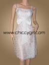 ชุดราตรีผ้าไหมสีขาวแบบมีแขนหุ้มผ้าโปร่งบางปักไหมขาวพันดิ้นเงินลายวิจิตรปราณีต หรูมาก