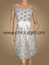 ชุดราตรีผ้าไหมสีขาว แบบมีแขน ปักดอกกุหลาบเงาทั่วตัว น่ารักสวยหรูมาก