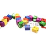 ของเล่นไม้ บล็อคไม้ร้อยเชือกหนอนไม้บล็อกตัวเลข