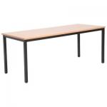 โต๊ะลายบีช ขาเหล็กสีดำ (สามารถเสริมเหล็กยึดด้านล่าง)