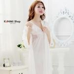 SP004 ชุดนอนกระโปรง พร้อมเสื้อคุลม สวยหวานน่ารัก มี 3 สี สีขาว สีชมพู สีแดงเลือดหมู
