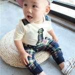 ชุดเด็กสก๊อตโทนเขียว(เซท) ไซส์ 73 (เสื้อเด็ก+กางเกงเด็ก)