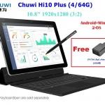 "Chuwi Hi10 Plus:Win10+Android 5.1 Intel Quad Core 1.92GHz 10.8"" IPS 1920*1280 USB3.0 Type-C HDMI 4GB/64GB 8400mAh Stylus"