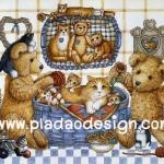 กระดาษอาร์ทพิมพ์ลาย สำหรับทำงาน เดคูพาจ Decoupage แนวภาพ หมี Teddy กับโต๊ะเครื่องแป้ง