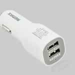 Remax ที่ชาร์จมือถือในรถยนต์ ชาร์จได้ USB 2 Port สีขาว
