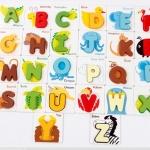บัตรภาพคำศัพท์ตัวอักษรภาษาอังกฤษ พร้อมตัวอักษรไม้ A-Z