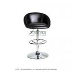เก้าอี้บาร์ขาเหล็ก รุ่น Timber - เก้าอี้ร้านอาหาร ร้านกาแฟ เบาะหนังสีดำ