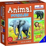 Creative's ของเล่นเสริมทักษะ (Animal Puzzles) ชุด ชุดตัวต่อภาพสัตว์ 1 (4, 6, 8, 10 ชิ้น) 3 ปีขี้นไป