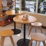 โต๊ะกาแฟกลม 2 ที่นั่ง ดีไซน์น่ารัก สำหรับร้านกาแฟ คาเฟ่ ร้านบิงซู (BKN-SET)