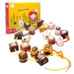 ของเล่นร้อยเชือก บล็อกไม้ร้อยเชือกขนมหวาน chocolate