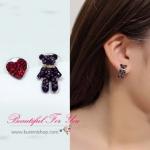SK015 ต่างหูแฟชั่น ตุ้มหู รูปหัวใจ และ หมี สวยน่ารัก แบบแป้นเสียบ ขนาด หมียาว 2 ซม. หัวใจ ยาว 1 ซม.