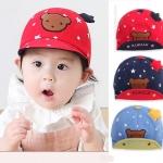 """BB024 หมวกแก็ปเด็ก ลายดาว แต่งด้านหน้าด้วยรูปน้องหมี พร้อมปีกเล็กที่บนหมวก ส่วนตรงแก็ปมีลวดอ่อนๆ สามารถปรับได้ ด้านในแก็ป พิมพ์คำว่า """" KUKUJI """" สวยน่ารัก ใส่ได้ทั้งเด็กผู้หญิง และเด็กผู้ชาย"""