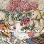 กระดาษอาร์ทพิมพ์ลาย สำหรับทำงาน เดคูพาจ Decoupage แนวภาพ หมี เท็ดดี้ แบร์ Teddy Bear นั่งข้างกระถางดอกไฮเดนเยีย (Pladao design)