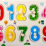 จิ๊กซอว์ไม้หมุดดึงภาพลายตัวเลข 0-9