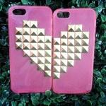 เคสประดับคริสตัล ไอโฟน5/5S แบบหัวใจประกบคู่ เหมาะสำหรับคู่รัก สีชมพูสดใส