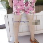 กางเกงเด็กขาสั้นสีชมพู ลายดอก ไซส์ 7,9