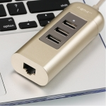 ปลั๊กชาร์จไฟแบบเสียบช่อง USB รุ่น อะแดปเตอร์ Remax HUB RU-U4 3USB 2.0 สีทอง