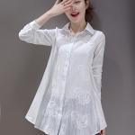 เสื้อเชิ้ตตัวยาวสไตล์เกาหลี ผ้าฝ้ายฉลุลายสุดเก๋ เนื้อผ้าดีสวมใส่สะบาย