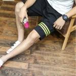 SP0038 กางเกงขาสั้นแฟชั่นเกาหลี สีดำ คาดเขียว