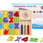 ของเล่นเสริมพัฒนาการ กล่องไม้สอนเลข ชุด นาฬิกา+ลูกคิดไม้