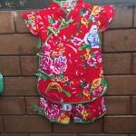 ชุดจีนเด็กหญิง 2 ชิ้น เสื้อ+กางเกง สีแดงพิมพ์ลายดอกไม้ ผ้าเนื้อนิ่มมากค่ะ