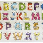 ของเล่นไม้ จิ๊กซอว์ไม้เสริมพัฒนาการจับคู่เงา A - Z ตัวพิมพ์ใหญ่