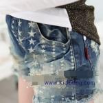 กางเกงยีนส์เด็กขาสั้น ลายดาว ไซส์ 7