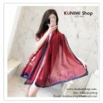 PR0100 ผ้าพันคอแฟชั่น ผ้าไหม พิมพ์ลายสวย น่ารัก งานสวยคะ ขนาด กว้าง 90 ยาว 185 cm.