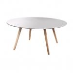 โต๊ะกลางกลม TOP สีขาว ขาสีธรรมชาติ ดีไซน์ทันสมัย (สั่งทำตามขนาด)
