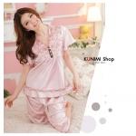 SP024 ชุดนอนเสื้อคู่กางเกงขายาว สวยน่ารัก มี 2 สี ชมพูอ่อน และ แดงแตงโม