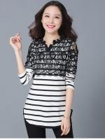 เสื้อยืดสไตล์เกาหลี แต่งดีเทลผ้าลูกไม้เก๋ๆ เนื้อผ้าดีสวมใส่สะบาย งานนำเข้าแท้คุณภาพดี